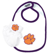 Clemson Tigers Baby Bib and Socks with Lace Set