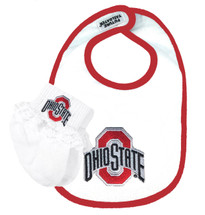 Ohio State Buckeyes Bib and Socks with Lace Baby Set