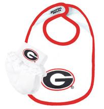 Georgia Bulldogs Bib and Socks with Lace Baby Set