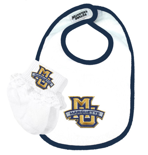Marquette Golden Eagles Bib and Socks with Lace Baby Set