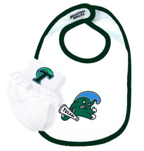 Tulane Green Wave Bib and Socks with Lace Baby Set