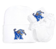 Memphis Tigers Newborn Baby Knit Cap and Socks with Lace Set