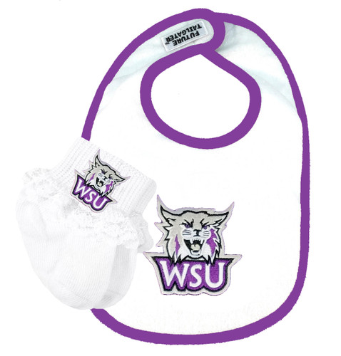 Weber State Wildcats Bib and Socks with Lace Baby Set