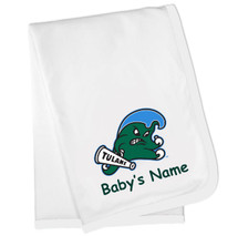 Copy of Tulane Green Wave Personalized Baby Blanket -White Trim