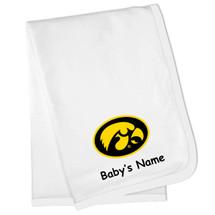 Iowa Hawkeyes Personalized Baby Blanket - White Trim