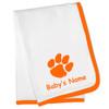Clemson Tigers Personalized Baby Blanket - Orange Trim