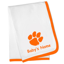 Clemson Tigers Personalized Baby Blanket - Orange Trim
