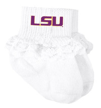 LSU Tigers Baby Laced Sock Booties