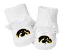 Iowa Hawkeyes Baby Toe Booties with Lace