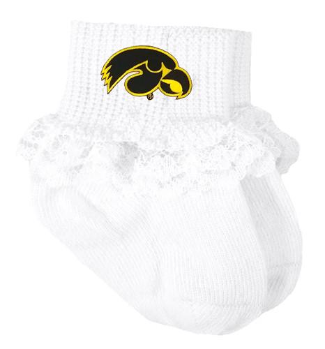Iowa Hawkeyes Baby Laced Sock Booties