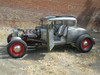 "28-31 Ford Model A Coupe Sliding Ragtop 40""x40"" Installed Open Side Shot"