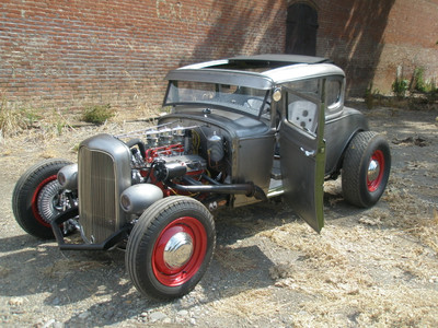 """28-31 Ford Model A Coupe Sliding Ragtop 40""""x40"""" Installed Open Front"""