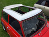 "1976-1983 Mini 35""  x  45"" Sliding Ragtop Folding Sunroof Kit Installed Side View"
