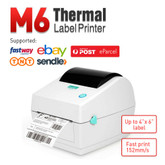 M6 Direct Thermal Label Printer  USB 100mm x 150mm Compatible