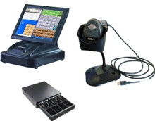 """15"""" Touch Screen POS Cash Register With Receipt Printer & Cash Drawer & Scanner Inc POS Software"""
