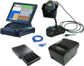 "15"" Touch Screen POS Cash Register With Receipt Printer & Cash Drawer & Kitchen Printer & Scanner Inc POS Software"