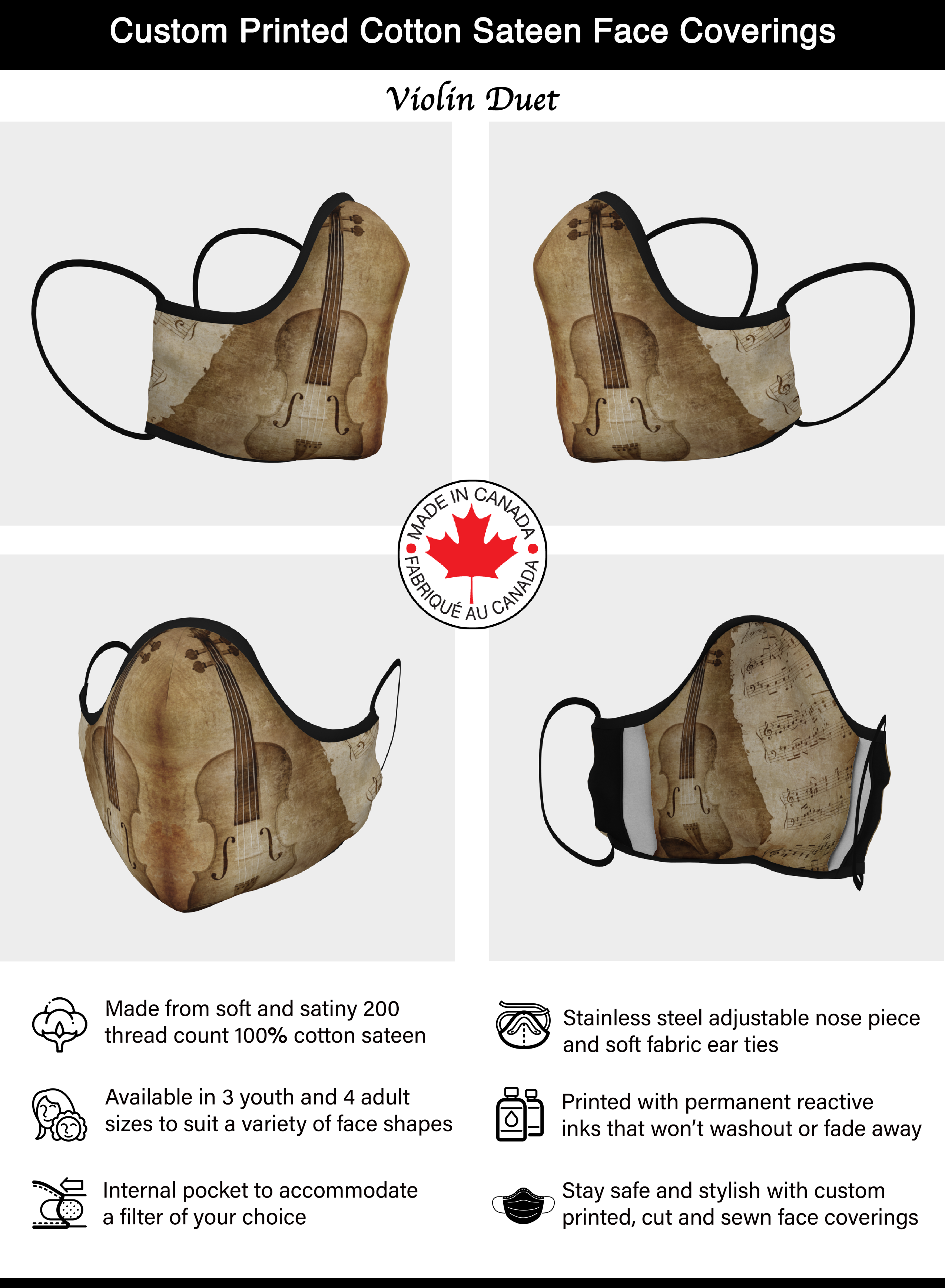 Violin Face Mask - Brown Violin Duet - Made in Canada