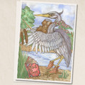 Heron - Bird Song - Stylish Heron Playing the Fiddle from a Bird Song Book