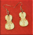 A. Violin Shaped Earrings - Made of Maple and 14k Gold Plated Fish Hook Earwires and Jump Rings