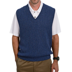 Men's Alpaca Wool Golf Links Sweater Vest - Denim Melange Blue Front