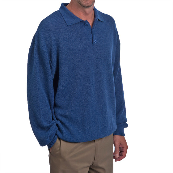 Men's Alpaca Golf Polo Sweater Side