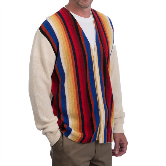 Retro Striped Alpaca Cardigan Side
