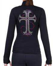 Fitted Skating Fleece Jacket with Rhinestones R115