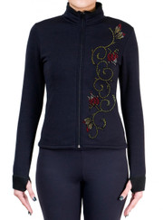 Fitted Skating Fleece Jacket with Rhinestones R46