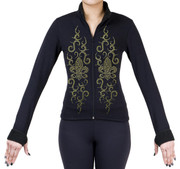 Fitted Skating Fleece Jacket with Rhinestones R190