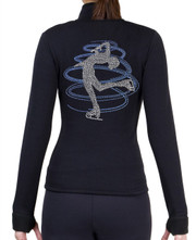 Fitted Skating Fleece Jacket with Rhinestones R230BB - Babay Blue