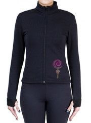 Fitted Skating Fleece Jacket with Rhinestones R282PKF