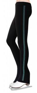 Skating Pants with Rhinestones Side Stripe - Aqua