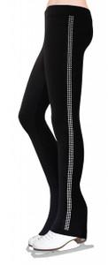 Skating Pants with Rhinestones Side Stripe - Crystal