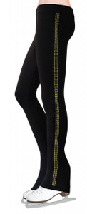Skating Pants with Rhinestones Side Stripe - Gold