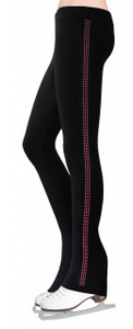Skating Pants with Rhinestones Side Stripe - Rose Pink