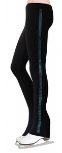 Skating Pants with Rhinestones Side Stripe - Turquoise