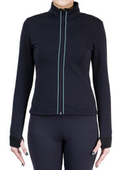 Fitted Skating Fleece Jacket with Rhinestones Stripe - Aqua