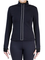 Fitted Skating Fleece Jacket with Rhinestones Stripe - Crystal