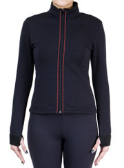 Fitted Skating Fleece Jacket with Rhinestones Stripe - Fuchsia