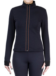 Fitted Skating Fleece Jacket with Rhinestones Stripe - Orange