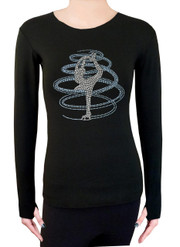 Long Sleeve Shirt with Rhinestones R254LB - Light Blue