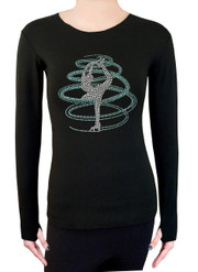 Long Sleeve Shirt with Rhinestones R254AQ - Aqua