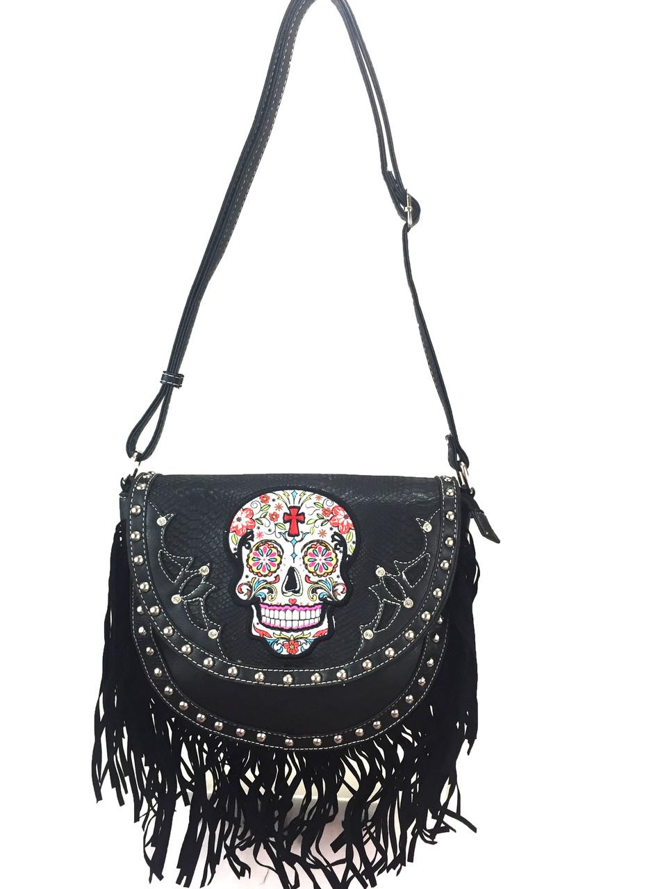7fd524f0ad00 Cowgirl trendy sugar skull fringe purses