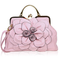 Big Flower Purse with Clasp  Pink B9156-PK