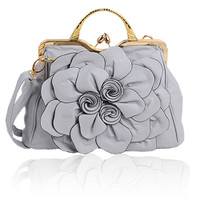 Big Flower Purse with Clasp Grey B9156-GY 23822e06ec6fb