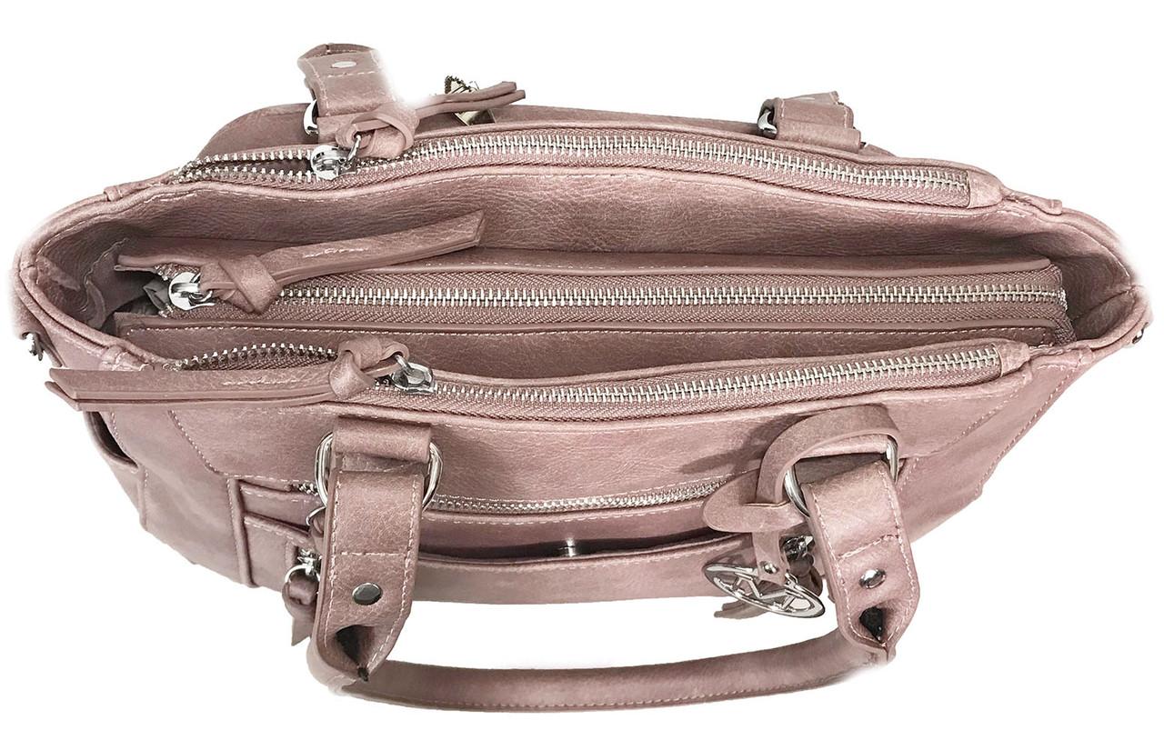 Medium CCW Bag Multi-Zippers Faux Leather Concealed Carry Purse BGUN688-Brown