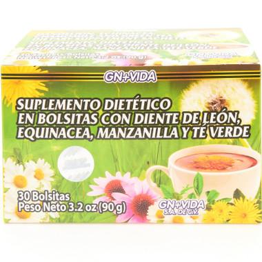 Te Inmunologico de Diente de Leon Equinacea, Manzanilla y Te Verde