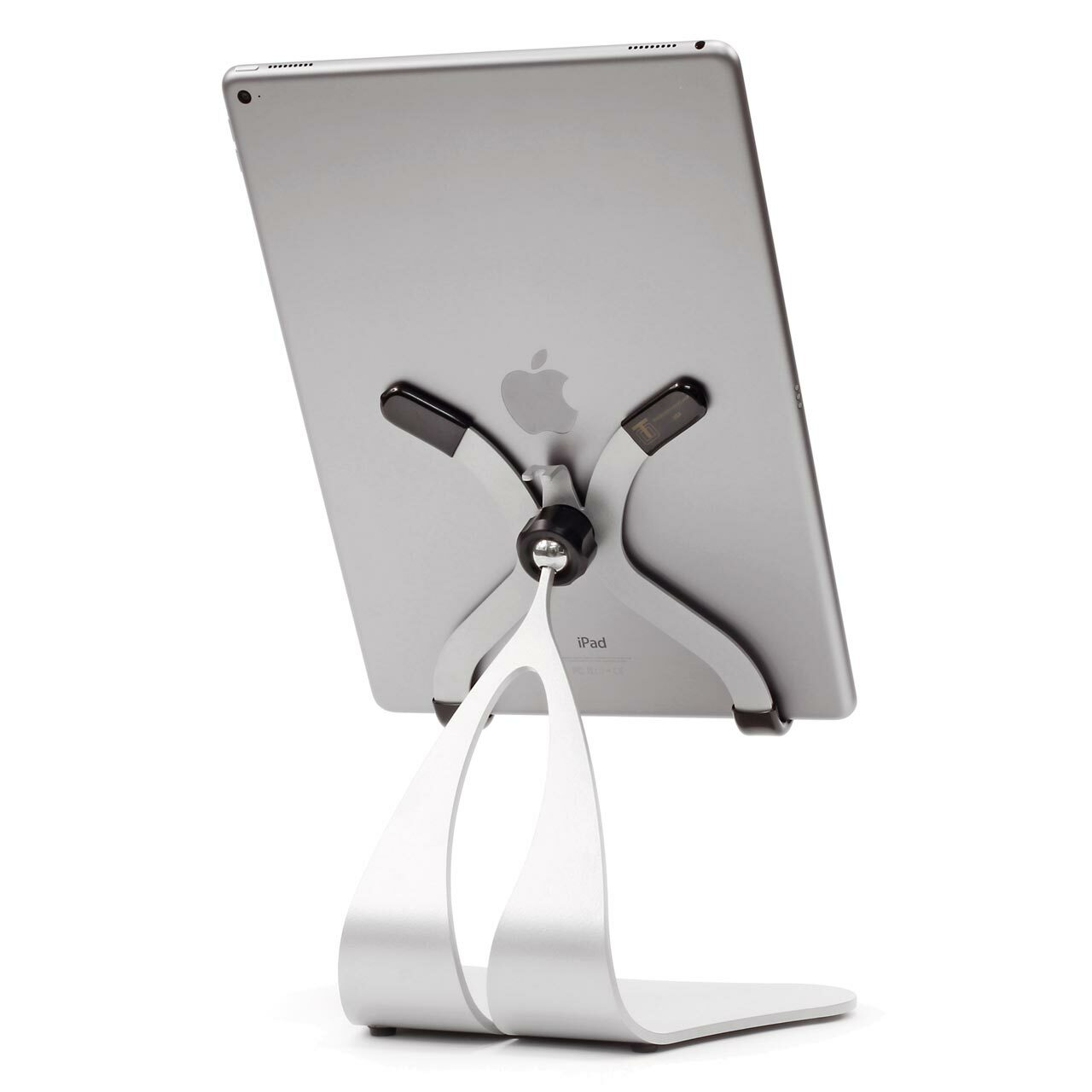 Stabile PRO - Pivoting iPad Stand Silver shown with iPad Pro 12.9