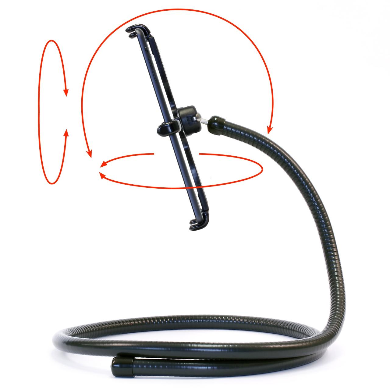 PED4-Coil IPM10 iPad mini Stand Flexible Gooseneck & Pivoting Holder ROLL, PITCH & YAW