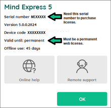Location of Mind Express 5 Serial number in Menu > Help in Mind Express 5.